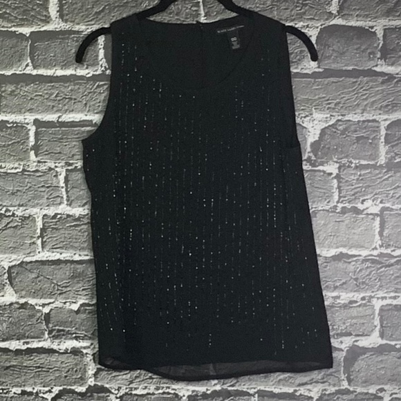 Chico's Tops - Black Label by Chico's Black Beaded Tank Sz 00